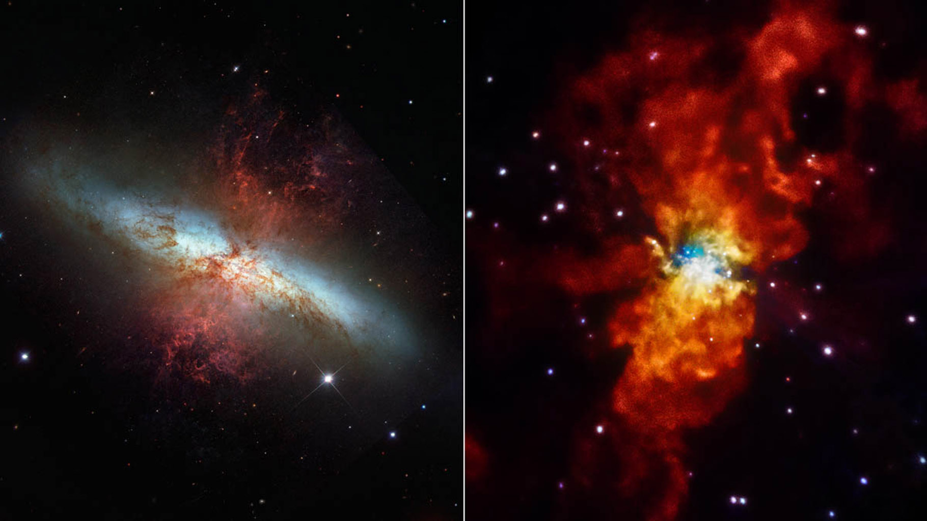 The comparison from NASA's Hubble telescope and Chandra X-ray Observatory highlights how different the universe can look when viewed in other wavelengths of light. M82 is located 12 million light-years away in the Ursa Major constellation.