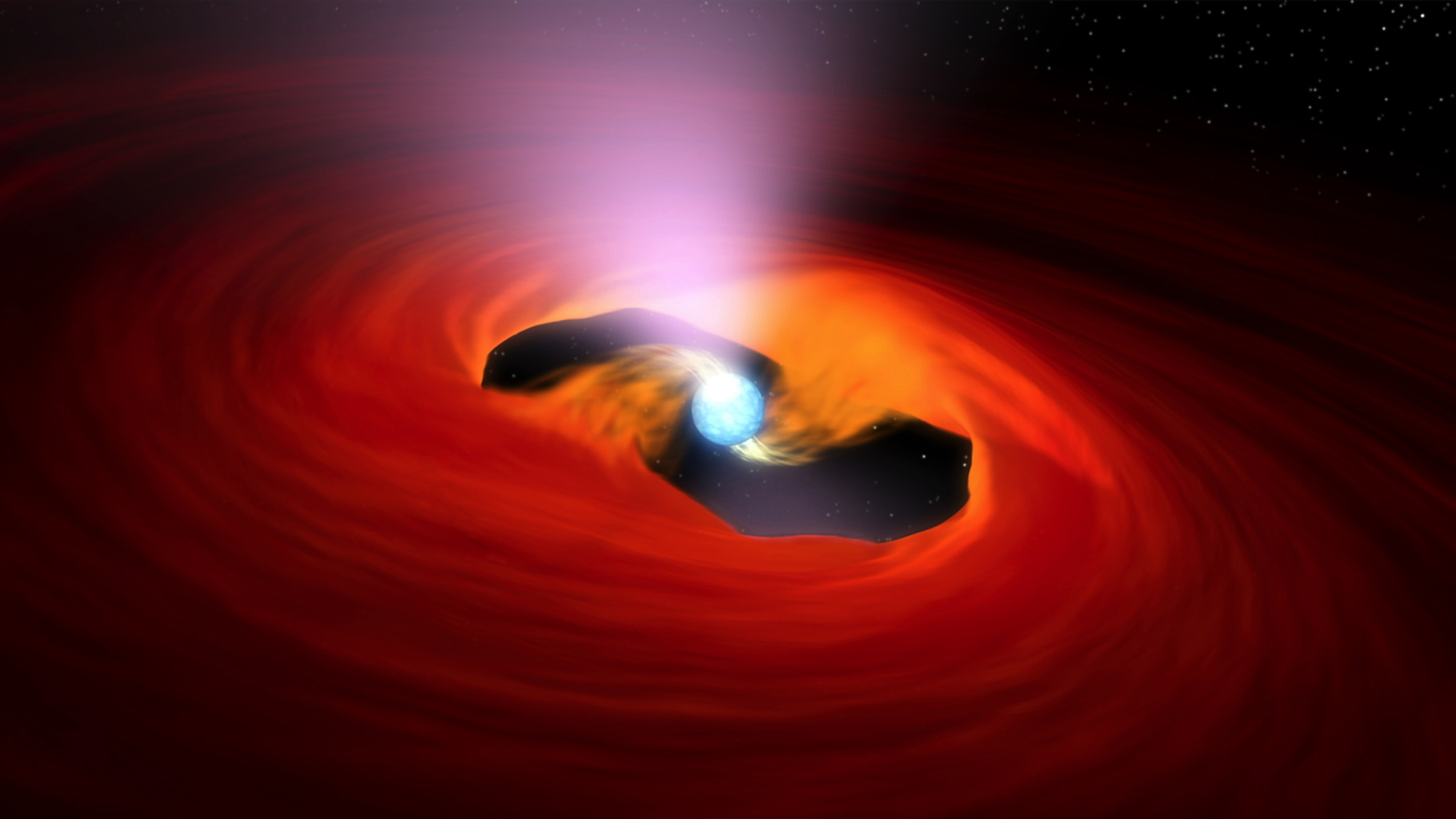 This image shows a neutron star -- the core of a star that exploded in a massive supernova. This particular neutron star is known as a pulsar because it sends out rotating beams of X-rays that sweep past Earth like lighthouse beacons.