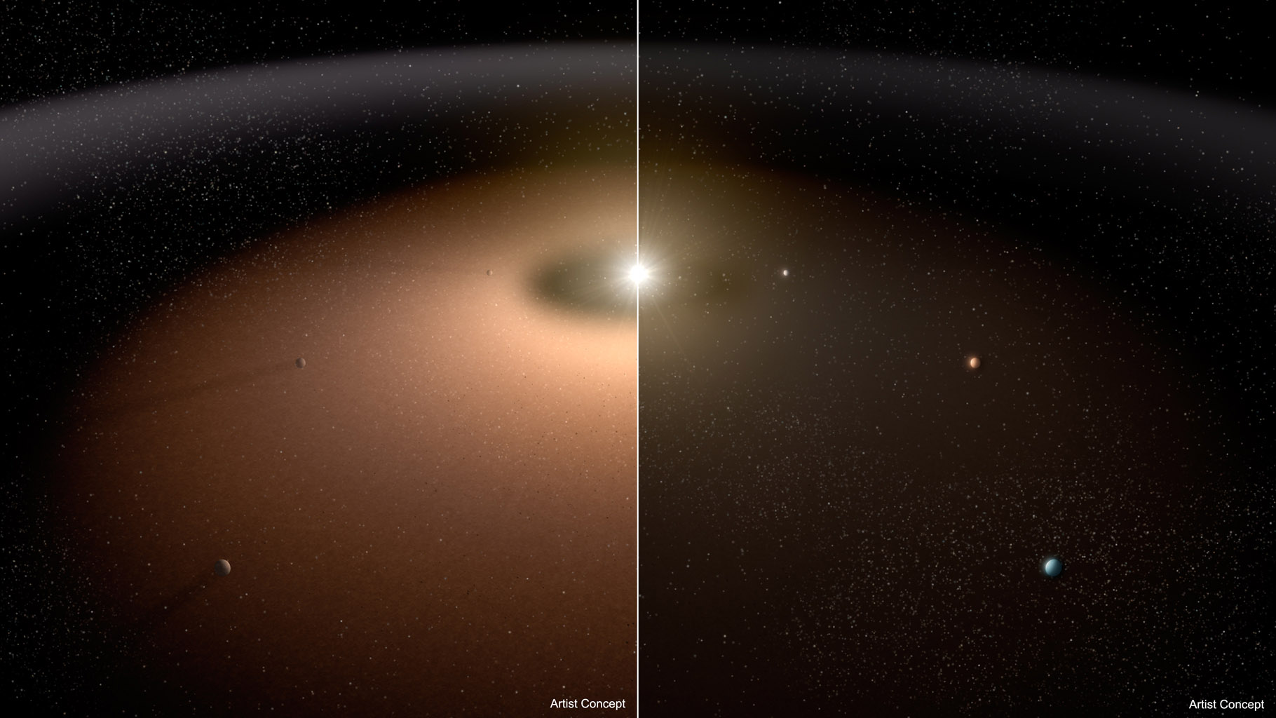 A dusty planetary system (left) is compared to another system with little dust in this artist's concept. Dust can make it difficult for telescopes to image planets because light from the dust can outshine that of the planets.