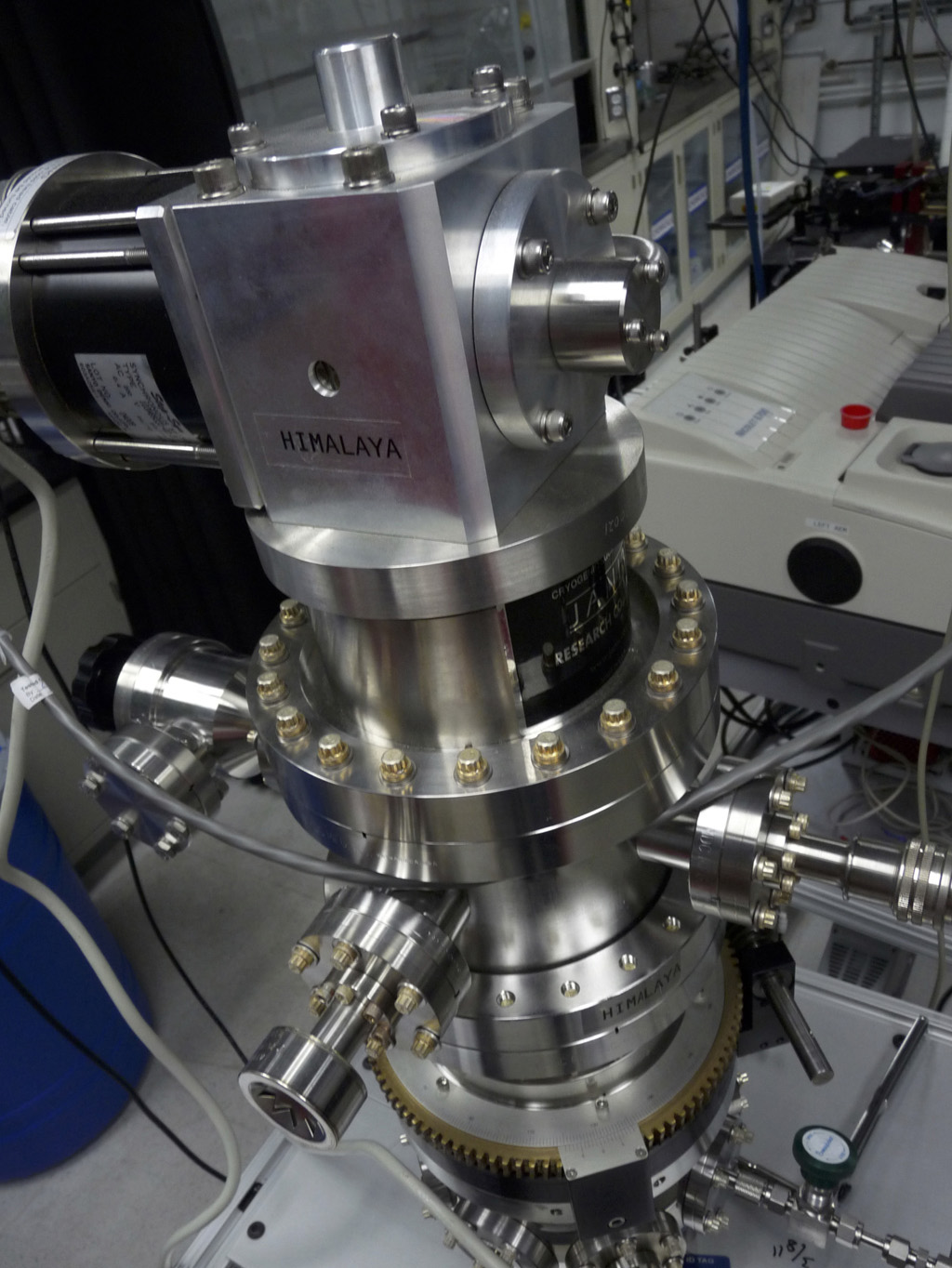 Researchers at NASA's Jet Propulsion Laboratory in Pasadena, California, use a cryostat instrument, nicknamed 'Himalaya,' to study the icy conditions under which comets form.
