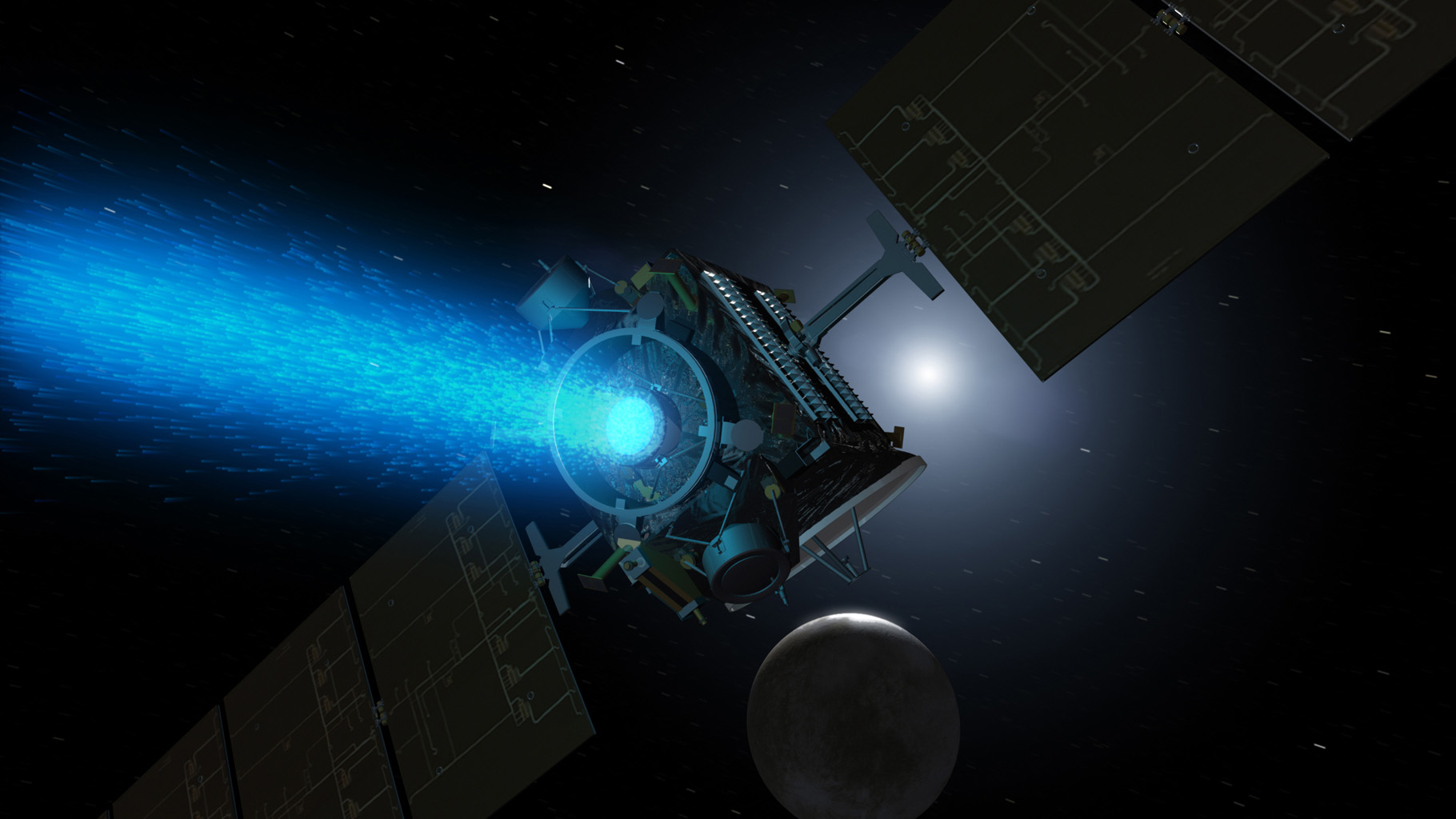 This artist's concept shows NASA's Dawn spacecraft arriving at the dwarf planet Ceres. Dawn travels through space using a technology called ion propulsion, with ions glowing with blue light are accelerated out of an engine, giving the spacecraft thrust.