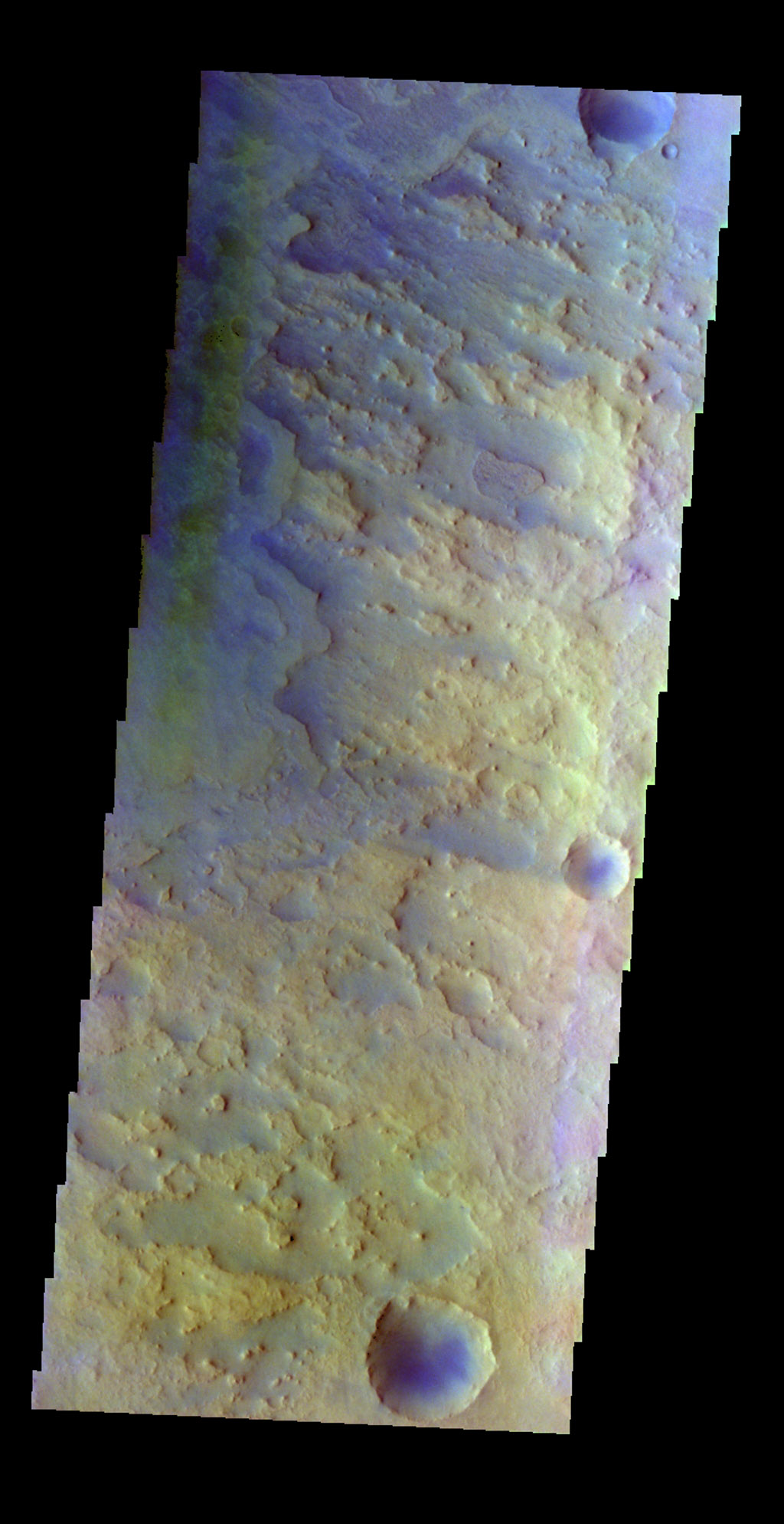 The THEMIS VIS camera contains 5 filters. The data from different filters can be combined in multiple ways to create a false color image. This false color image from NASA's 2001 Mars Odyssey spacecraft shows part of the floor of Antoniadi Crater.