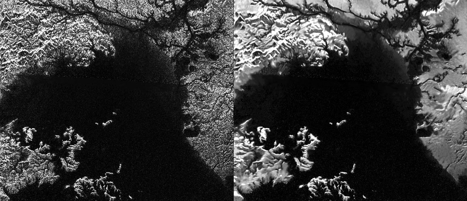 These views from NASA's Cassini Synthetic Aperture Radar (SAR) present a side-by-side comparisons of a traditional view and one made using a new technique called despeckling for handling electronic noise that results in clearer views of Titan's surface.