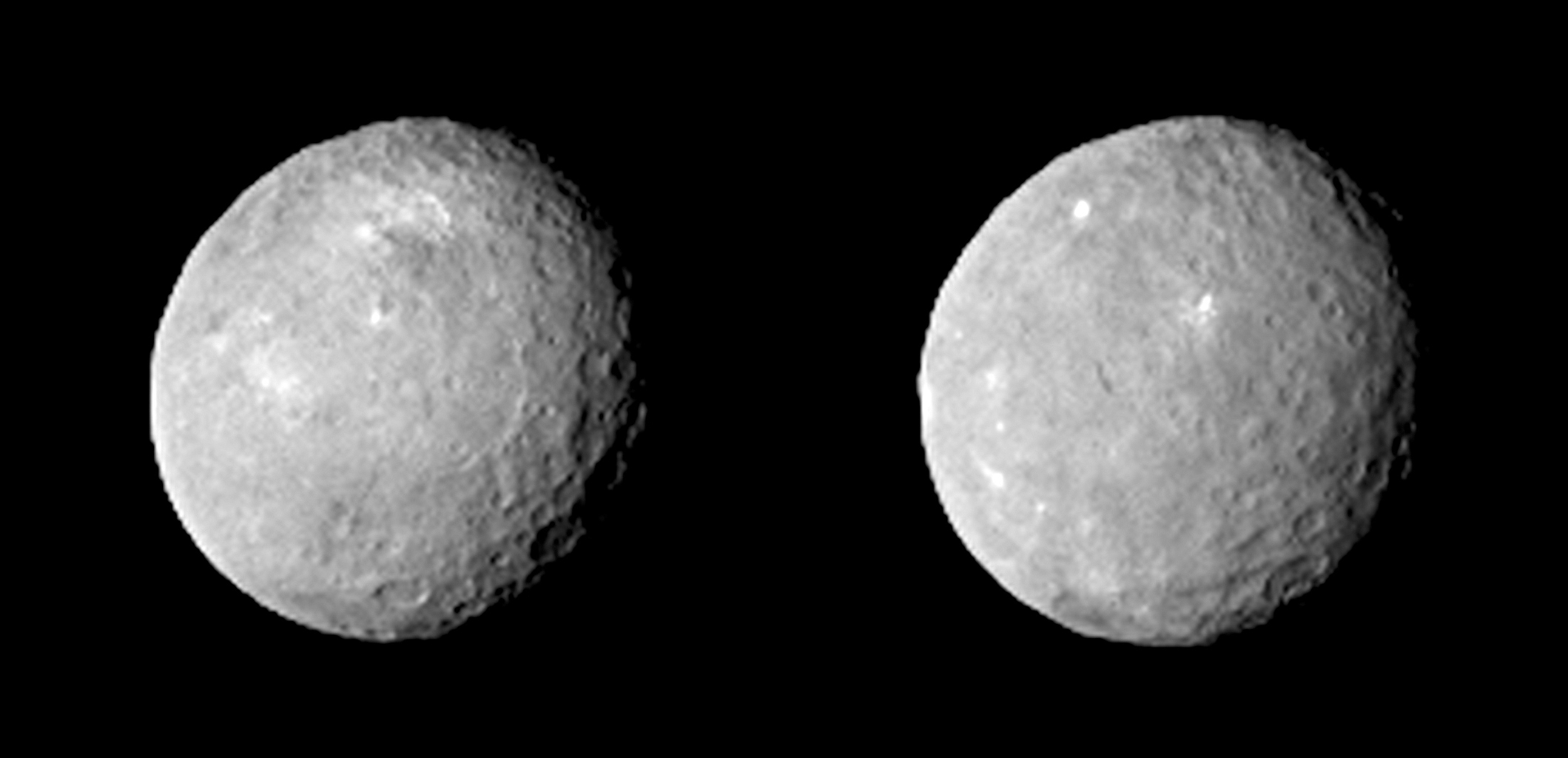 These two views of Ceres were acquired by NASA's Dawn spacecraft on Feb. 12, 2015, from a distance of about 52,000 miles (83,000 kilometers) as the dwarf planet rotated. The images have been magnified from their original size.
