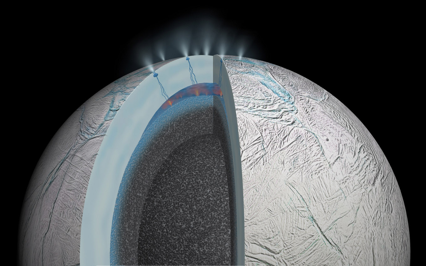 This cutaway view of Saturn's moon Enceladus is an artist's rendering that depicts possible hydrothermal activity that may be taking place on and under the seafloor of the moon's subsurface ocean, based on published results from NASA's Cassini mission.