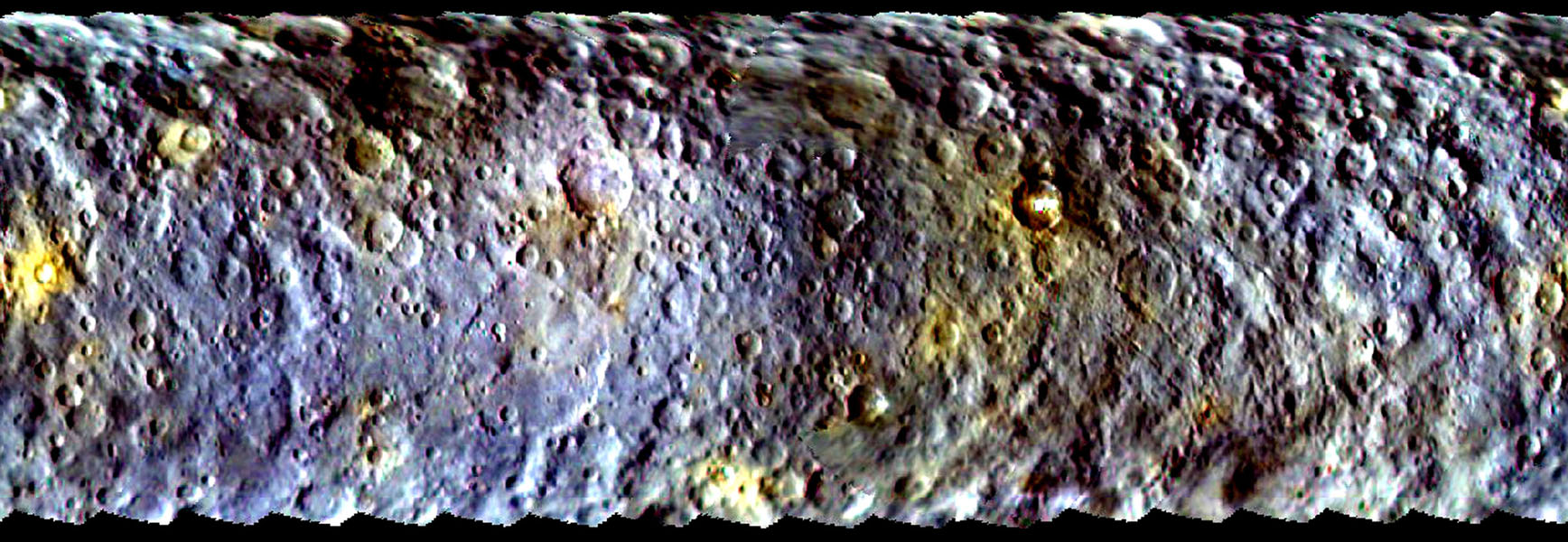 This map-projected view of Ceres was created from images taken by NASA's Dawn spacecraft during its initial approach to the dwarf planet, prior to being captured into orbit in March 2015.