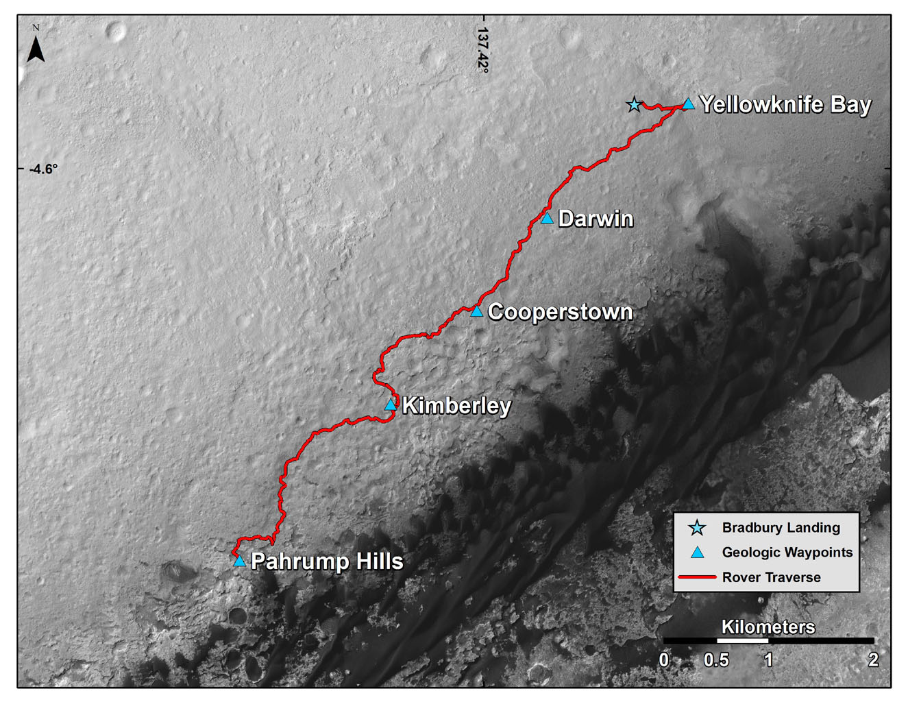 Space Images | Curiosity Mars Rover's Route from Landing ...