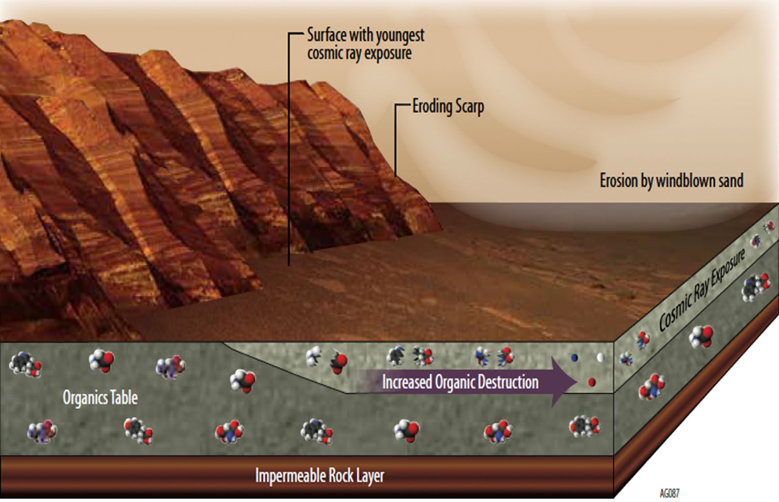 This illustration portrays some of the reasons why finding organic chemicals on Mars is challenging. Whatever organic chemicals may be produced on Mars or delivered to Mars face several possible modes of being transformed or destroyed.