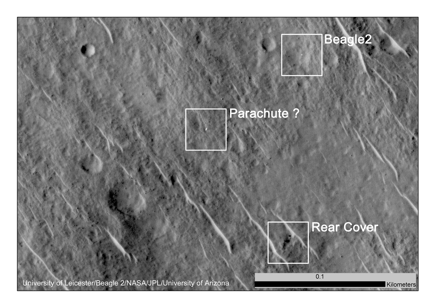 This annotated image, taken in 2014, shows where features seen in an observation by NASA's Mars Reconnaissance Orbiter have been interpreted as hardware from the Dec. 25, 2003, arrival at Mars of the United Kingdom's Beagle 2 Lander.