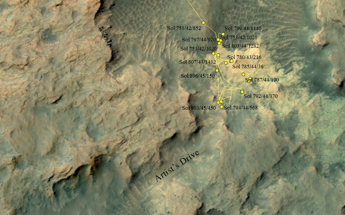 This area at the base of Mount Sharp on Mars includes a pale outcrop, called 'Pahrump Hills,' that NASA's Curiosity Mars rover investigated from September 2014 to March 2015.