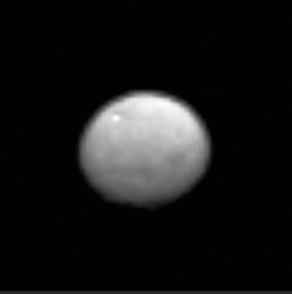 NASA's Dawn spacecraft as it observed Ceres for an hour from a distance of 238,000 miles.