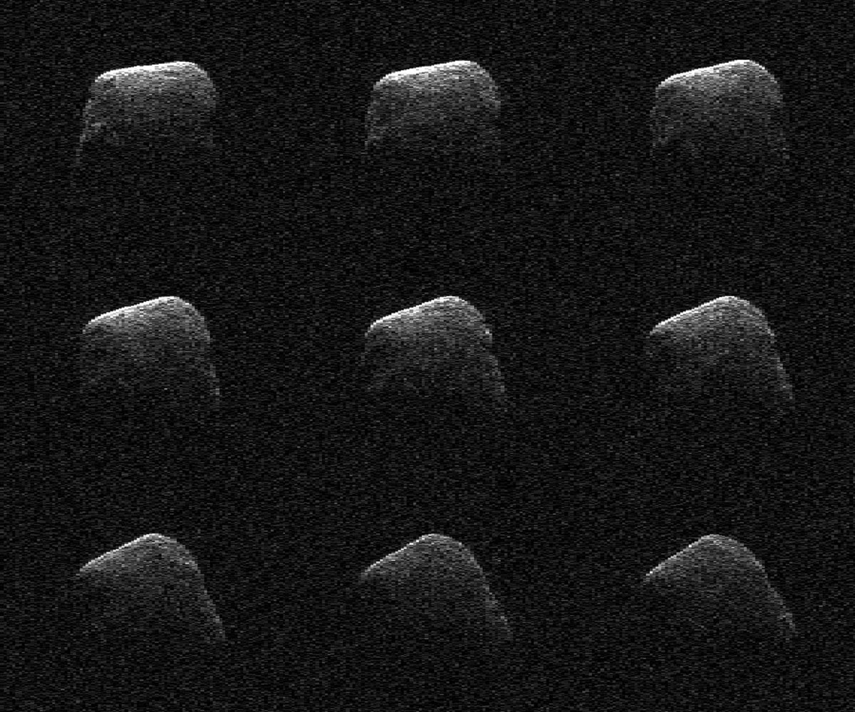 These radar images of comet P/2016 BA14 were taken on March 22, 2016, by scientists using an antenna of NASA's Deep Space Network at Goldstone, CA. At the time, the comet was about 2.2 million miles (3.6 million kilometers) from Earth.