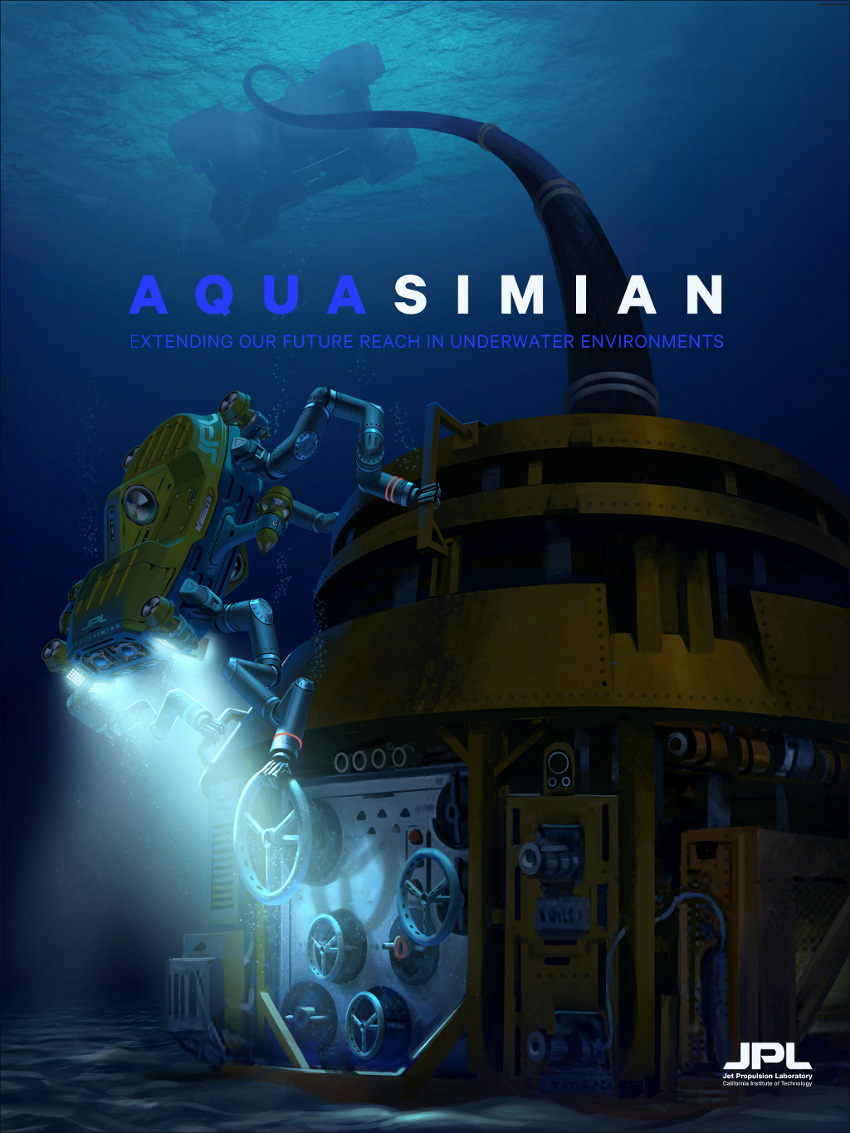 This artist's rendering shows a concept for a robot called AquaSimian that would assist with hazardous situations underwater.