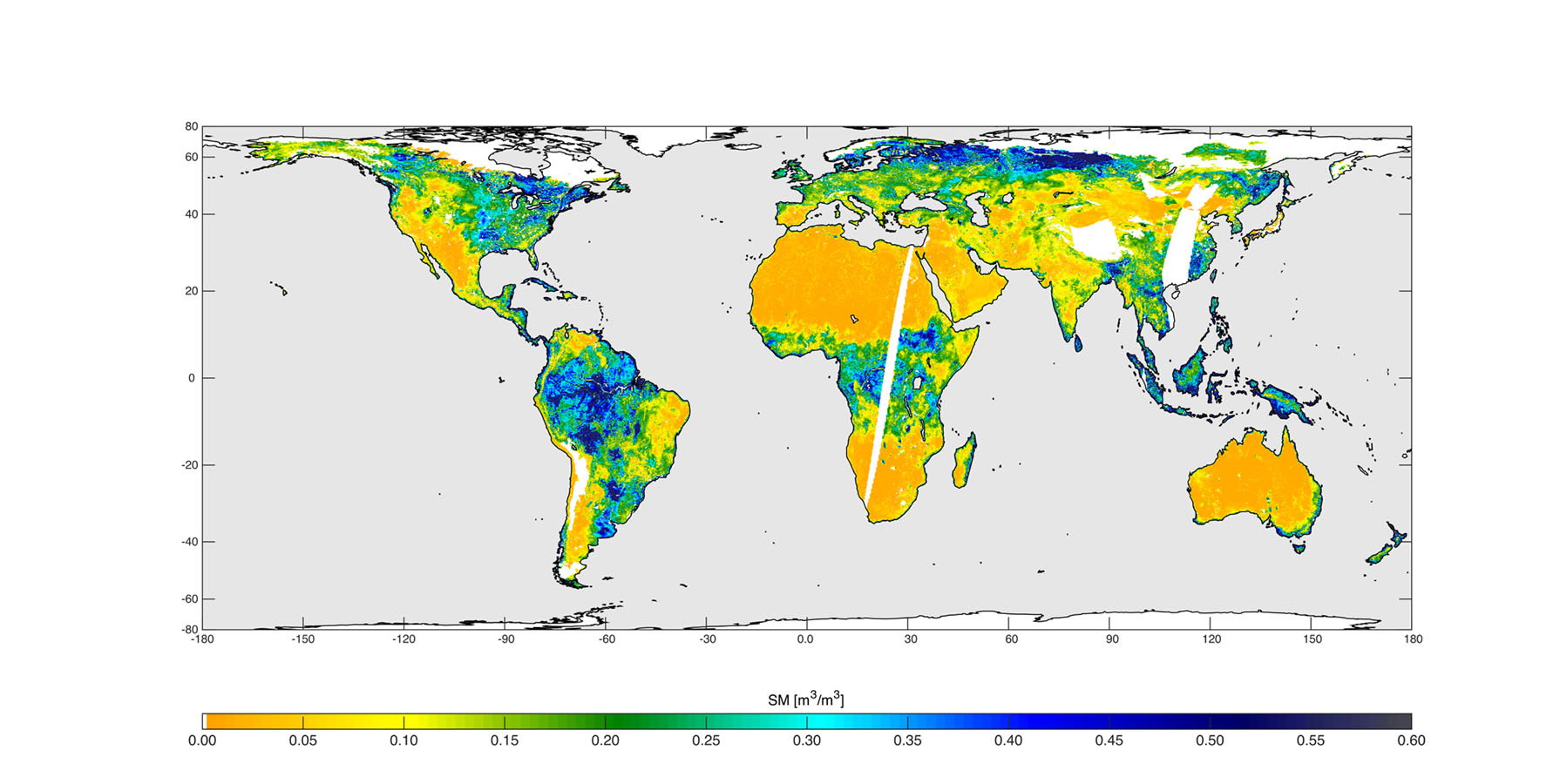 High-resolution global soil moisture map from NASA SMAP's combined radar and radiometer instruments, acquired between May 4 and May 11, 2015 during SMAP's commissioning phase.