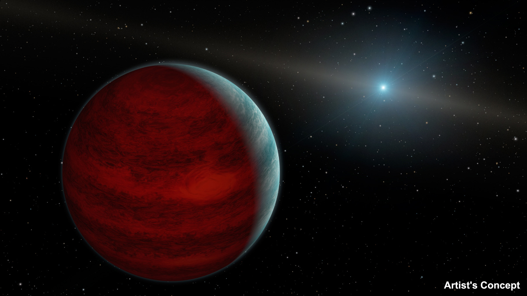 This artist's concept shows a hypothetical 'rejuvenated' planet,a gas giant that has reclaimed its youthful infrared glow. NASA's Spitzer Space Telescope found tentative evidence for one such planet around a dead star, or white dwarf, called PG 0010+280.