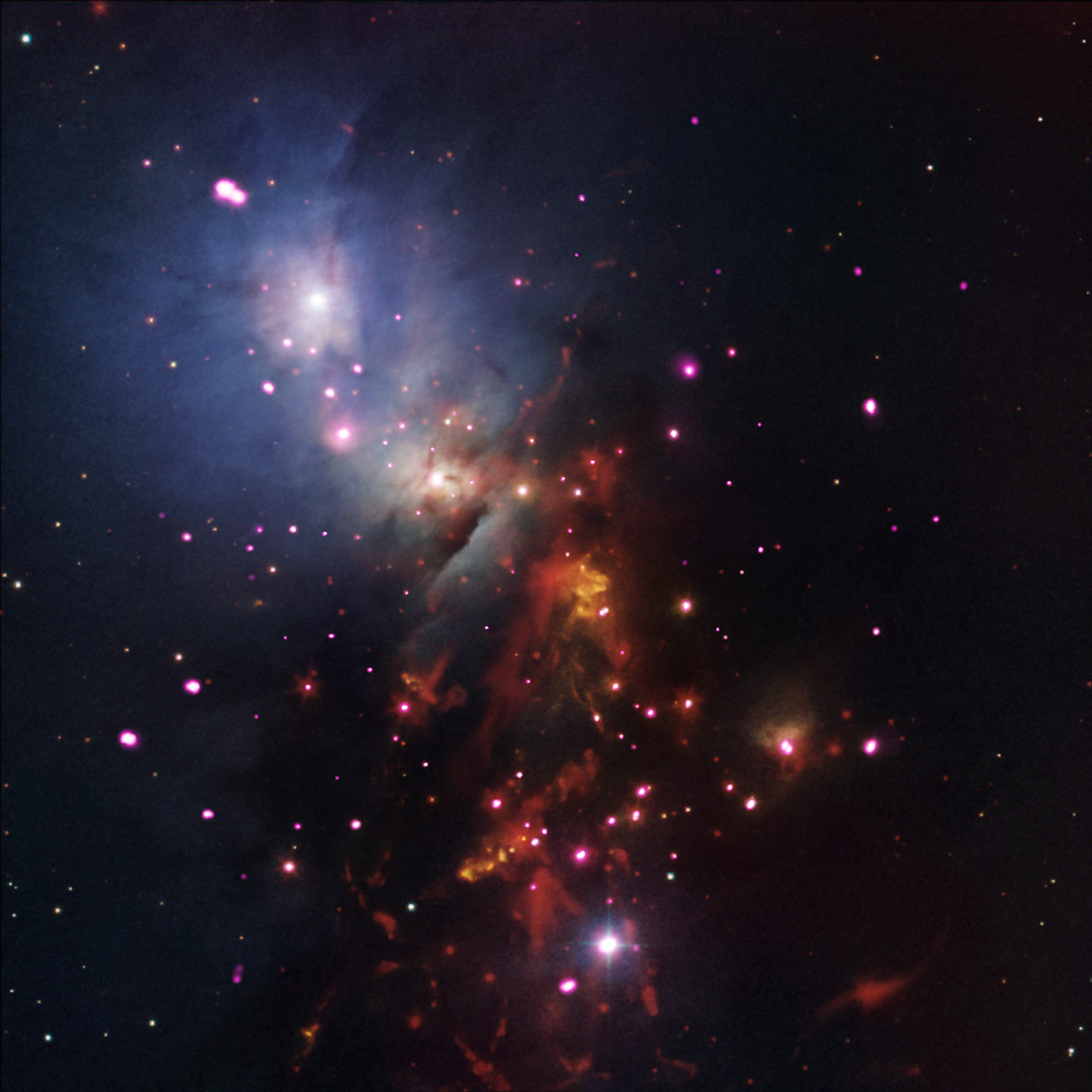 This image, containing data from NASA's Spitzer and Chandra space telescopes, shows a cluster of young stars expected to burn for billions of years.