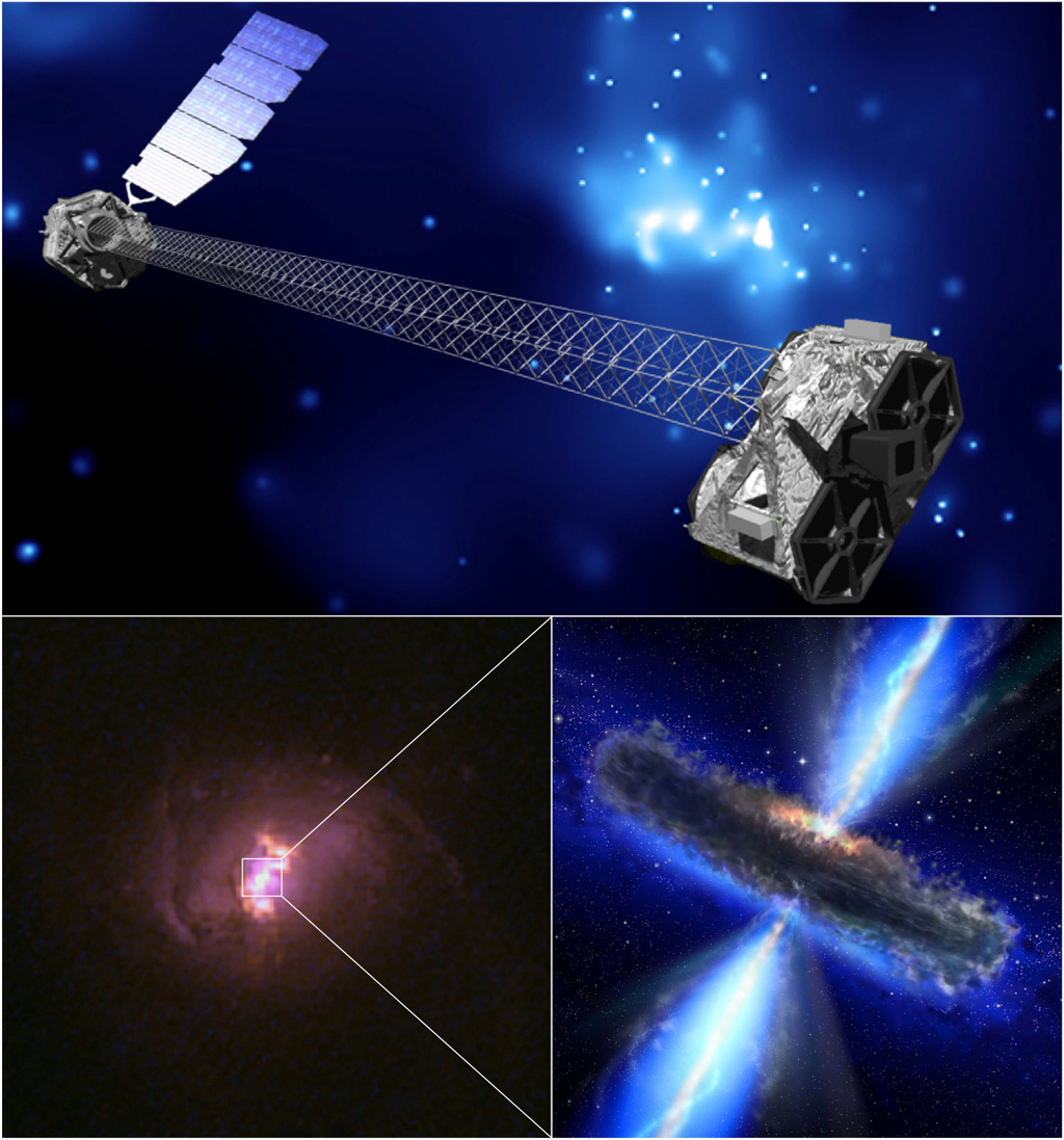 A montage of images showing an artist's concept of NuSTAR (top); a color image of one of the galaxies targeted by NuSTAR (lower left); and artist's concept of a hidden black hole.