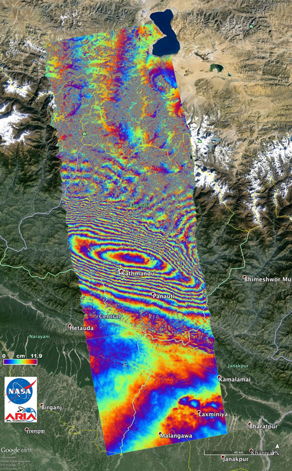 Space images nasas aria project provides new look at earth nasas aria project provides new look at earth surface deformation from nepal quake gumiabroncs Choice Image