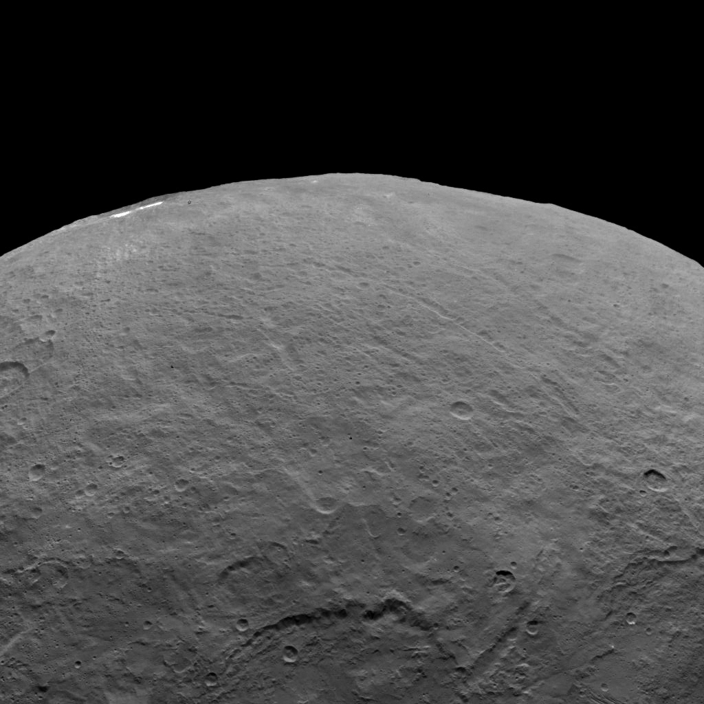 This image, taken by NASA's Dawn spacecraft, shows dwarf planet Ceres from an altitude of 2,700 miles (4,400 kilometers). The image, with a resolution of 1,400 feet (410 meters) per pixel, was taken on June 6, 2015.