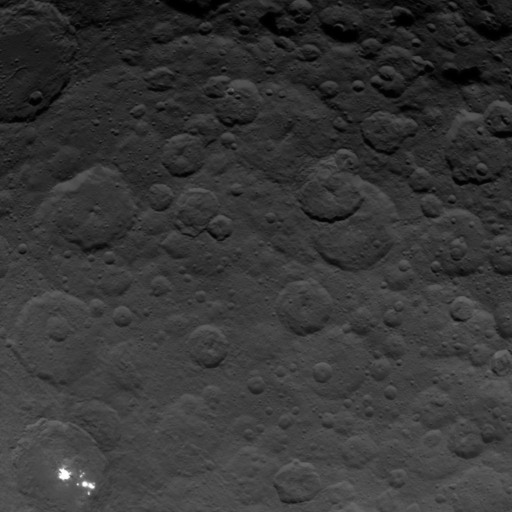 This image, taken by NASA's Dawn spacecraft, shows the brightest spots on dwarf planet Ceres from an altitude of 2,700 miles (4,400 kilometers). The image, with a resolution of 1,400 feet (410 meters) per pixel, was taken on June 24, 2015.