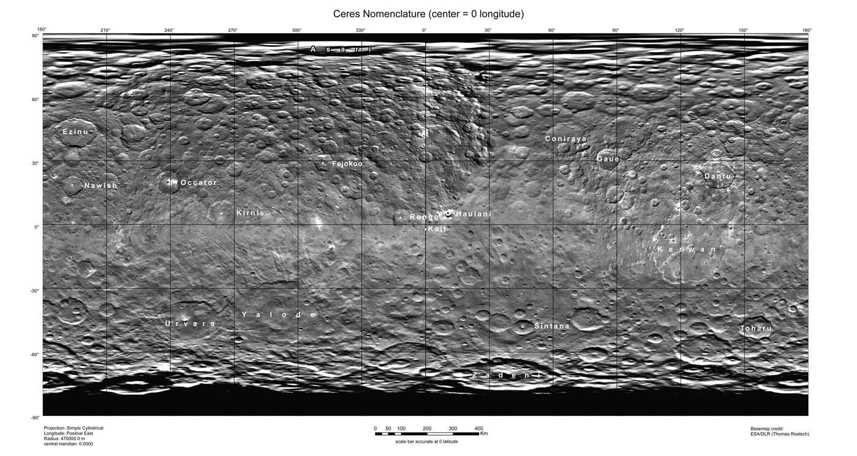 Map of Ceres with named craters