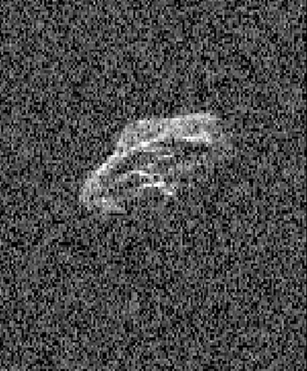 Scientists using two giant, Earth-based radio telescopes bounced radar signals off passing asteroid 2011 UW158 to create images for an animation showing the rocky body's fast rotation. This is a frame from the animation.