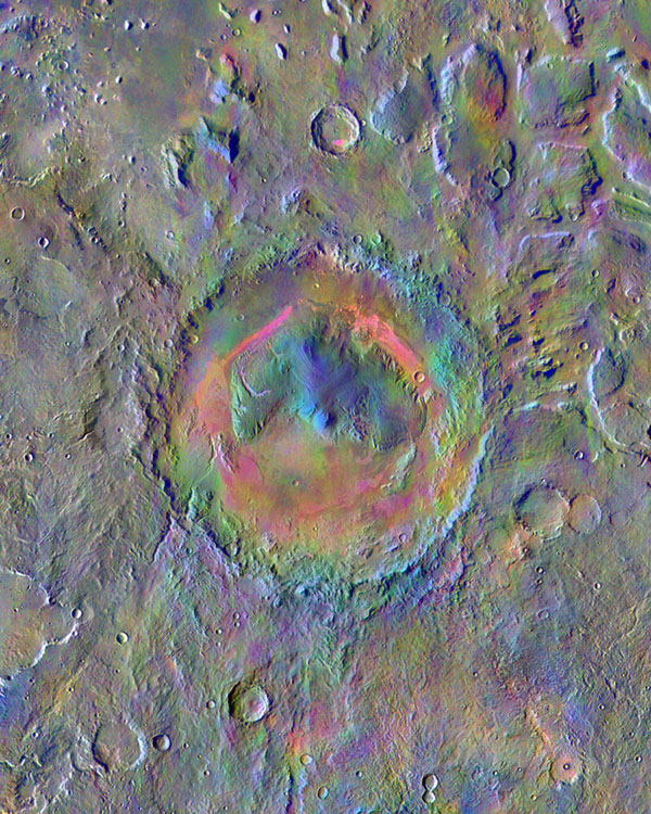 Gale Crater, home to NASA's Curiosity Mars rover, shows a new face in this mosaic image made using data from the Thermal Emission Imaging System (THEMIS) on NASA's Mars Odyssey orbiter.
