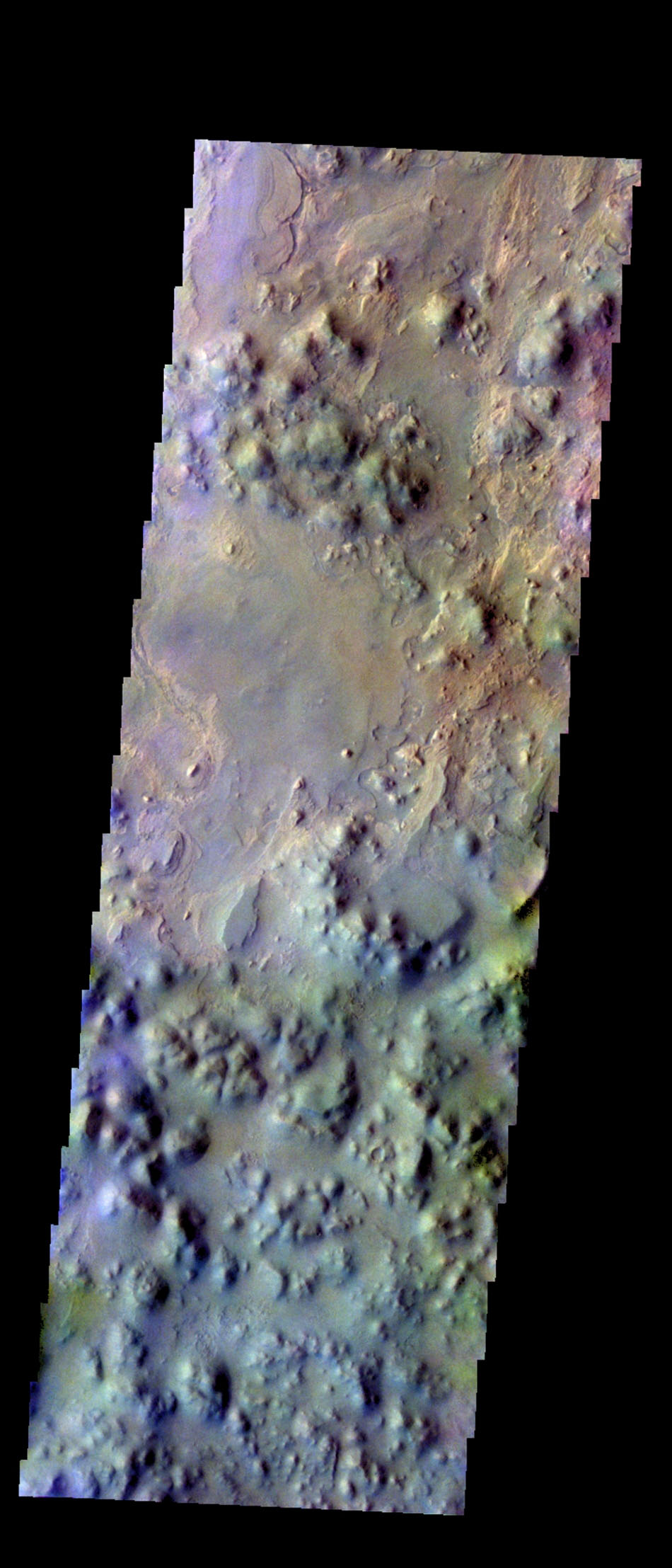 The THEMIS VIS camera contains 5 filters. The data from different filters can be combined in multiple many ways to create a false color image. This image from NASA's 2001 Mars Odyssey spacecraft shows part of Iani Chaos.