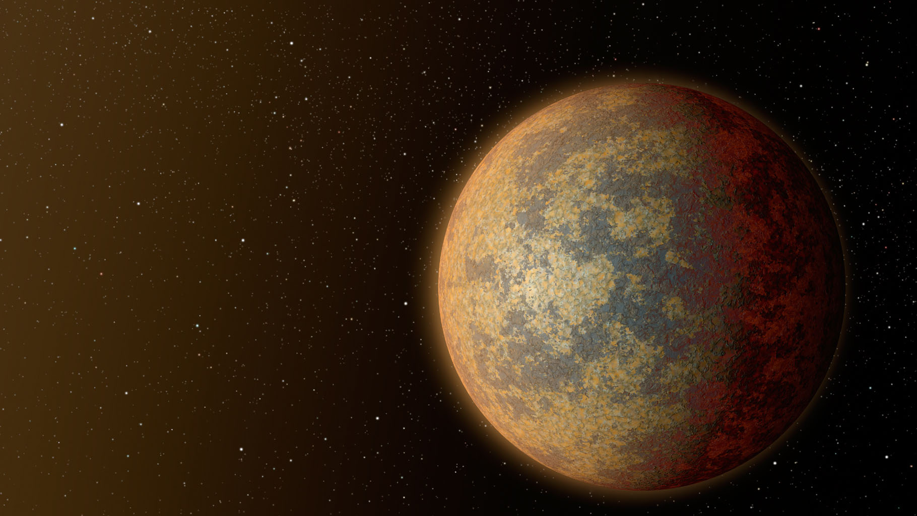 This artist's rendition shows one possible appearance for the planet HD 219134b, the nearest confirmed rocky exoplanet found to date outside our solar system.
