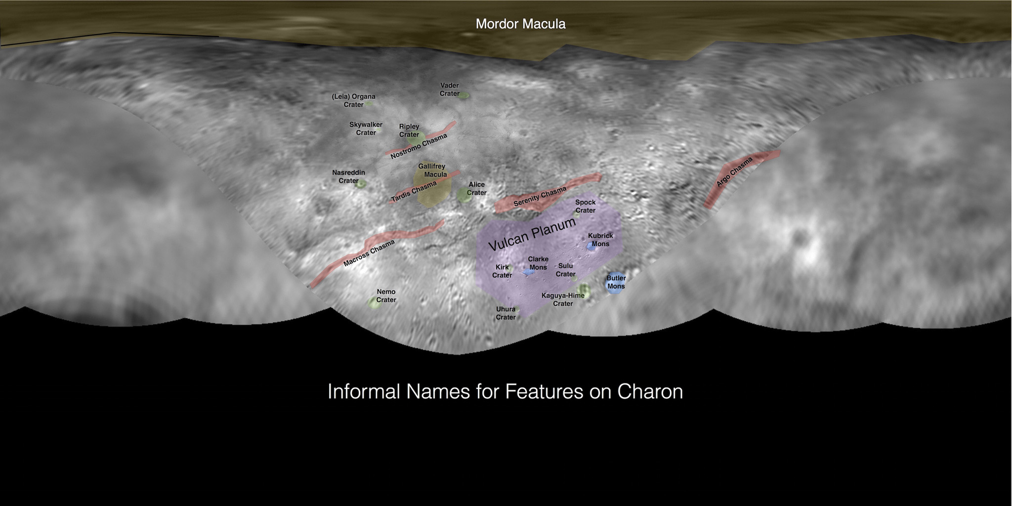 This image contains the initial, informal names being used by NASA's New Horizons team for the features and regions on the surface of Pluto's largest moon, Charon. These names have not yet been approved by the International Astronomical Union (IAU).