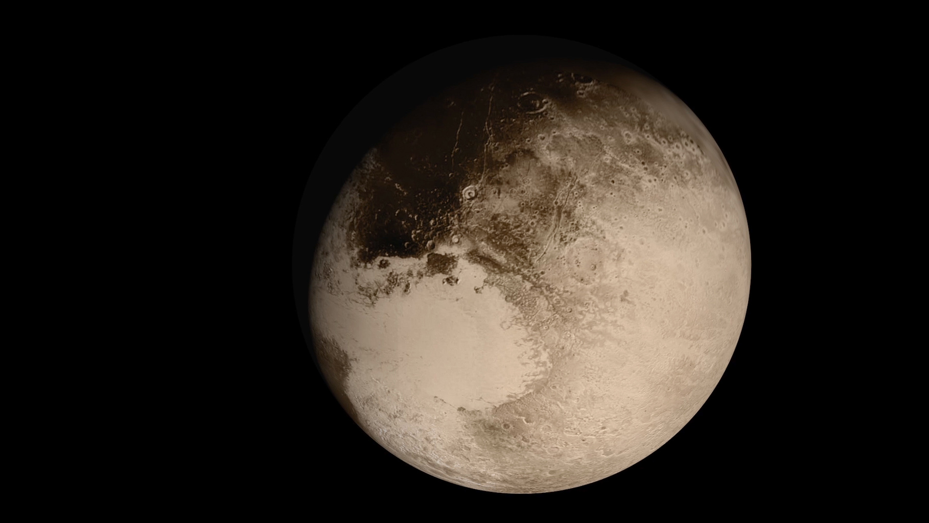 This frame from an animation is a dramatic view of the Pluto system is as NASA's New Horizons spacecraft saw it in July 2015.