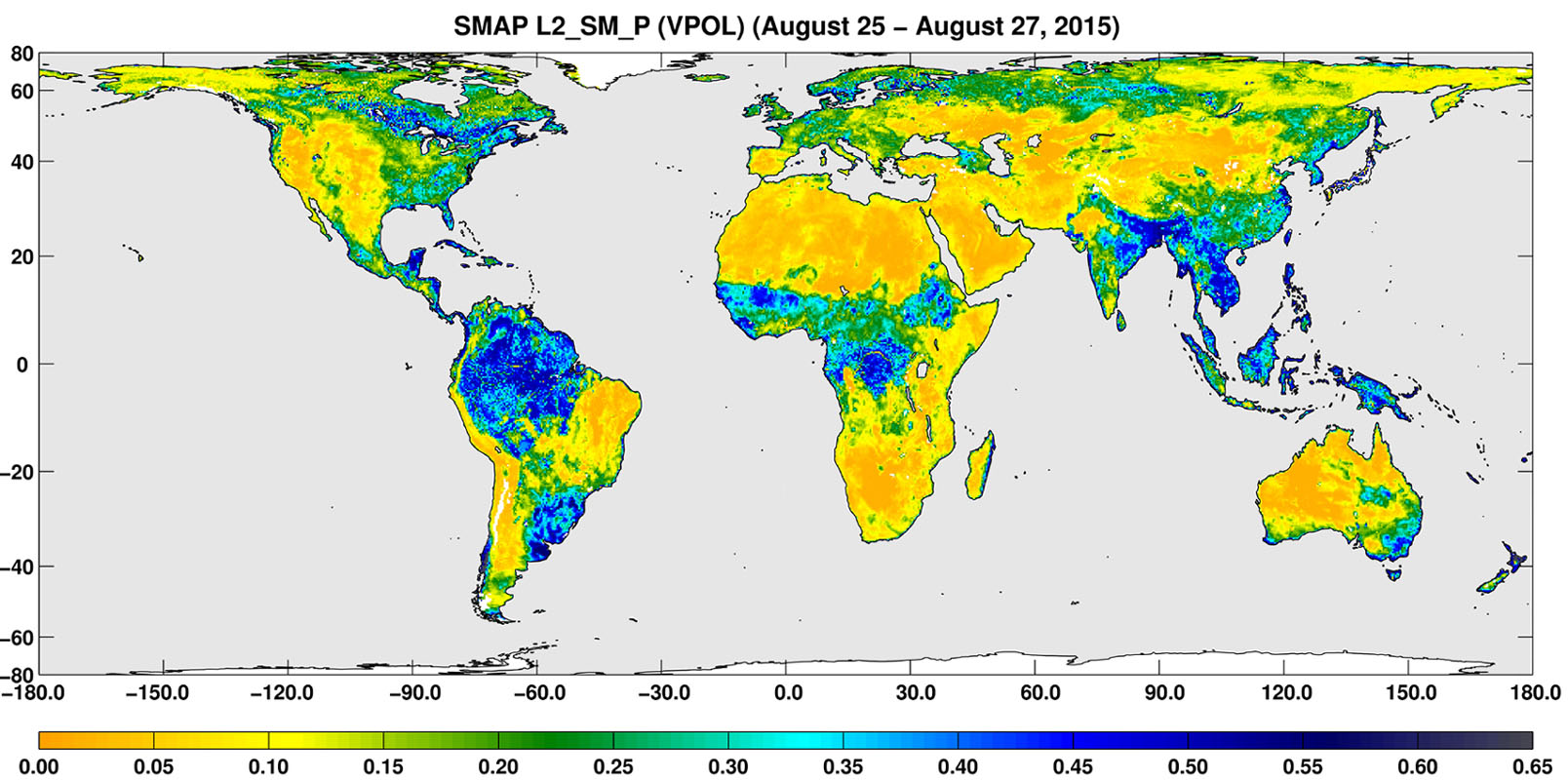 Space Images Smap Global Map Of Surface Soil Moisture