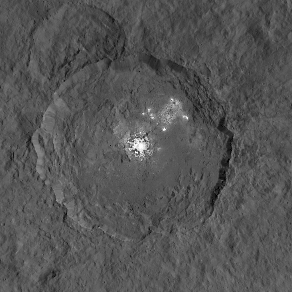 This image, made using images taken by NASA's Dawn spacecraft, shows Occator crater on Ceres, home to a collection of intriguing bright spots.