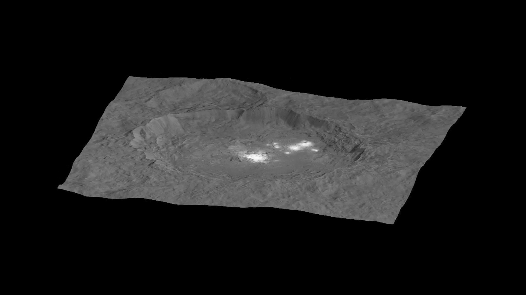 This still from an animation, made using images taken by NASA's Dawn spacecraft, shows Occator crater on Ceres, home to a collection of intriguing bright spots.