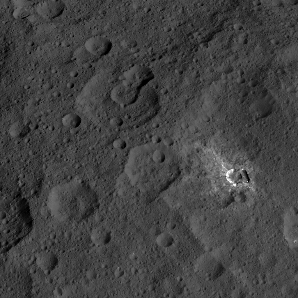 This image, taken by NASA's Dawn spacecraft, shows the surface of dwarf planet Ceres from an altitude of 915 miles (1,470 kilometers). The image was taken on September 9, 2015, and has a resolution of 450 feet (140 meters) per pixel.