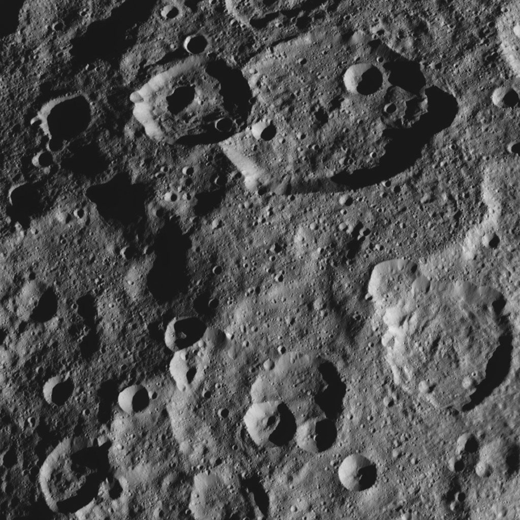 This image, taken by NASA's Dawn spacecraft, shows the surface of dwarf planet Ceres from an altitude of 915 miles (1,470 kilometers). The image was taken on September 14, 2015, and has a resolution of 450 feet (140 meters) per pixel.