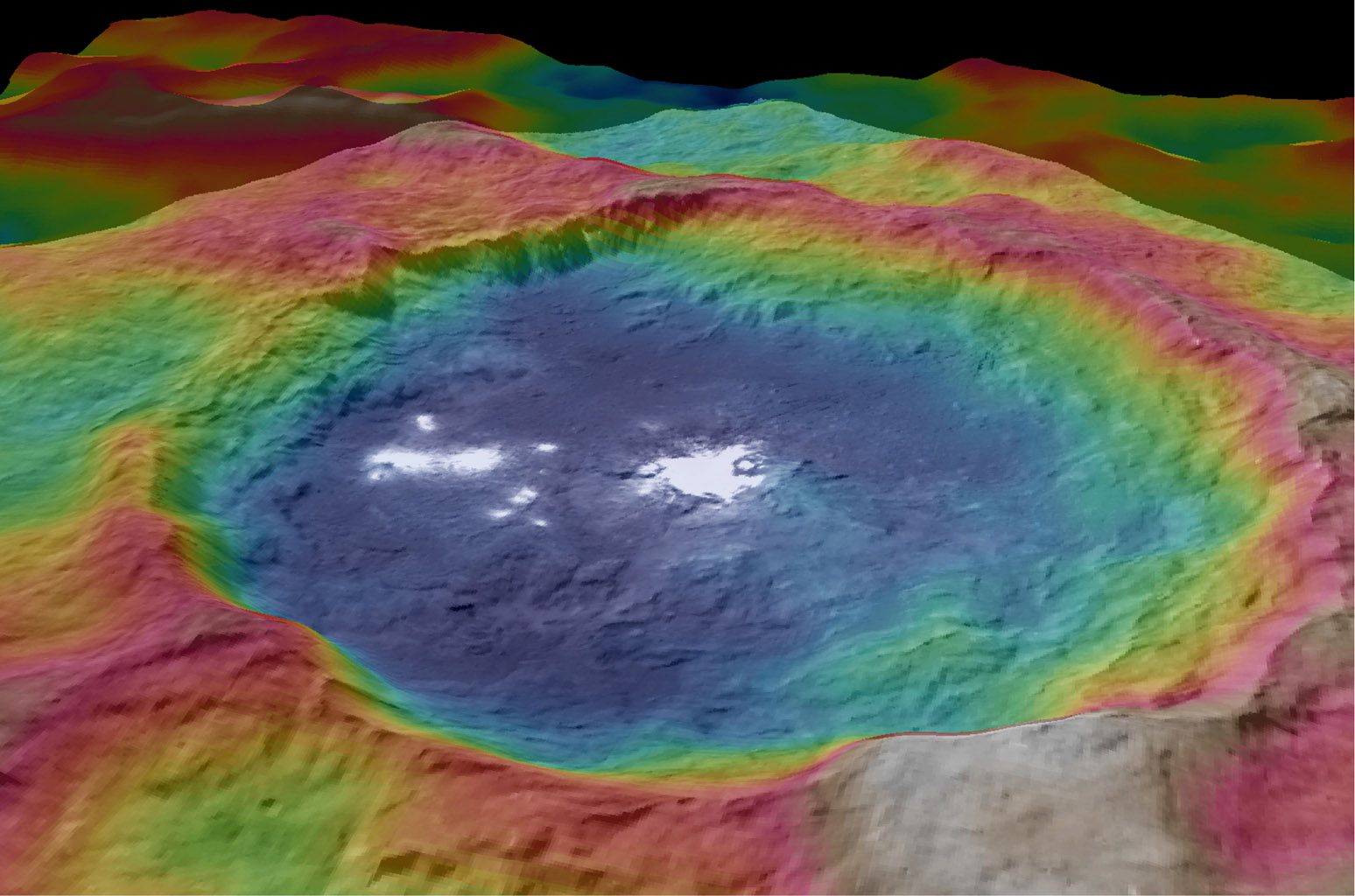 This view, made using images taken by NASA's Dawn spacecraft, is a color-coded topographic map of Occator crater on Ceres. Blue is the lowest elevation, and brown is the highest.