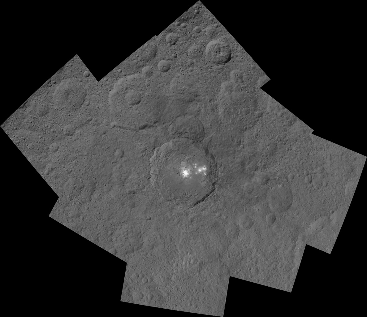 This mosaic shows Ceres' Occator crater and surrounding terrain from an altitude of 915 miles (1,470 kilometers), as seen by NASA's Dawn spacecraft. Occator is 60 miles (90 kilometers) across and 2 miles (4 kilometers) deep.