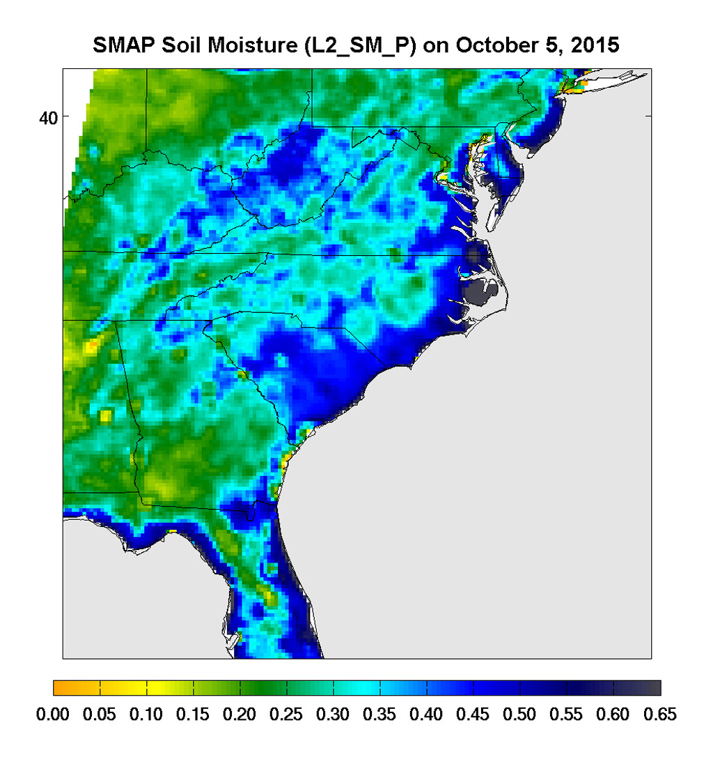 Surface soil moisture in the Southeastern United States as retrieved from NASA's SMAP satellite observatory at around 6 a.m. on Oct. 5, 2015. Large parts of South Carolina appear blue, representing the impact of heavy localized rains and flooding.