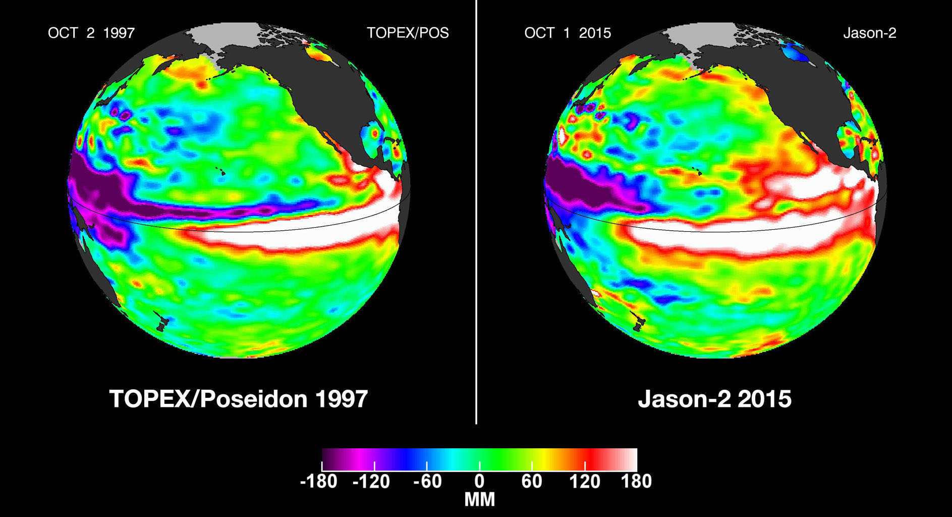 In this side-by-side visualization, Pacific Ocean sea surface height anomalies during the 1997-98 El Niño (left) are compared with 2015 Pacific conditions (right).