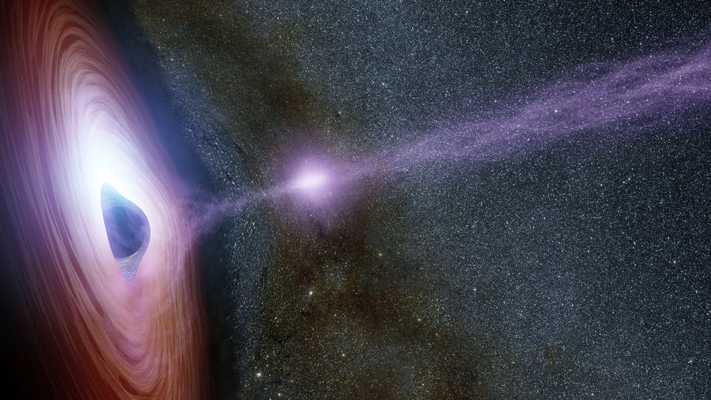 In 2014, NASA's Nuclear Spectroscopic Telescope Array, or NuSTAR, and Swift space telescopes witnessed an X-flare from the supermassive black hole in a distant galaxy called Markarian 335. Artist Concept.