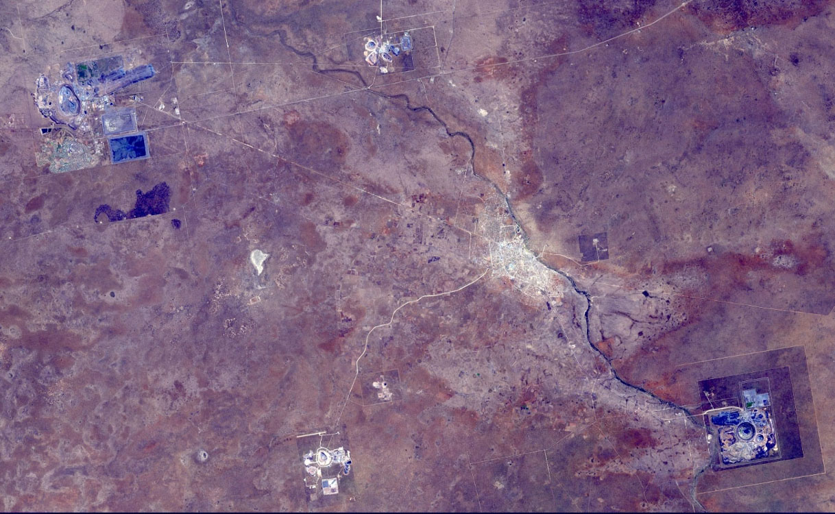 This image from NASA's Terra spacecraft shows the Orapa diamond mine, the world's largest diamond mine by area. The mine is located in Botswana.