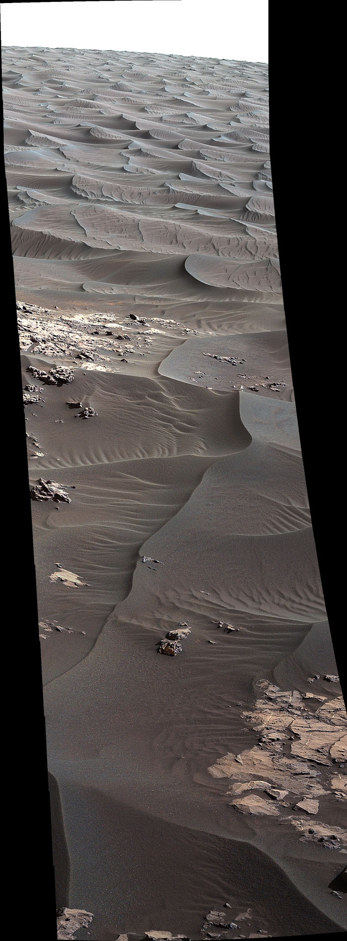 The rippled surface of the first Martian sand dune ever studied up close fills this view of 'High Dune' from the Mastcam on NASA's Curiosity rover. This site is part of the 'Bagnold Dunes' field along the northwestern flank of Mount Sharp.