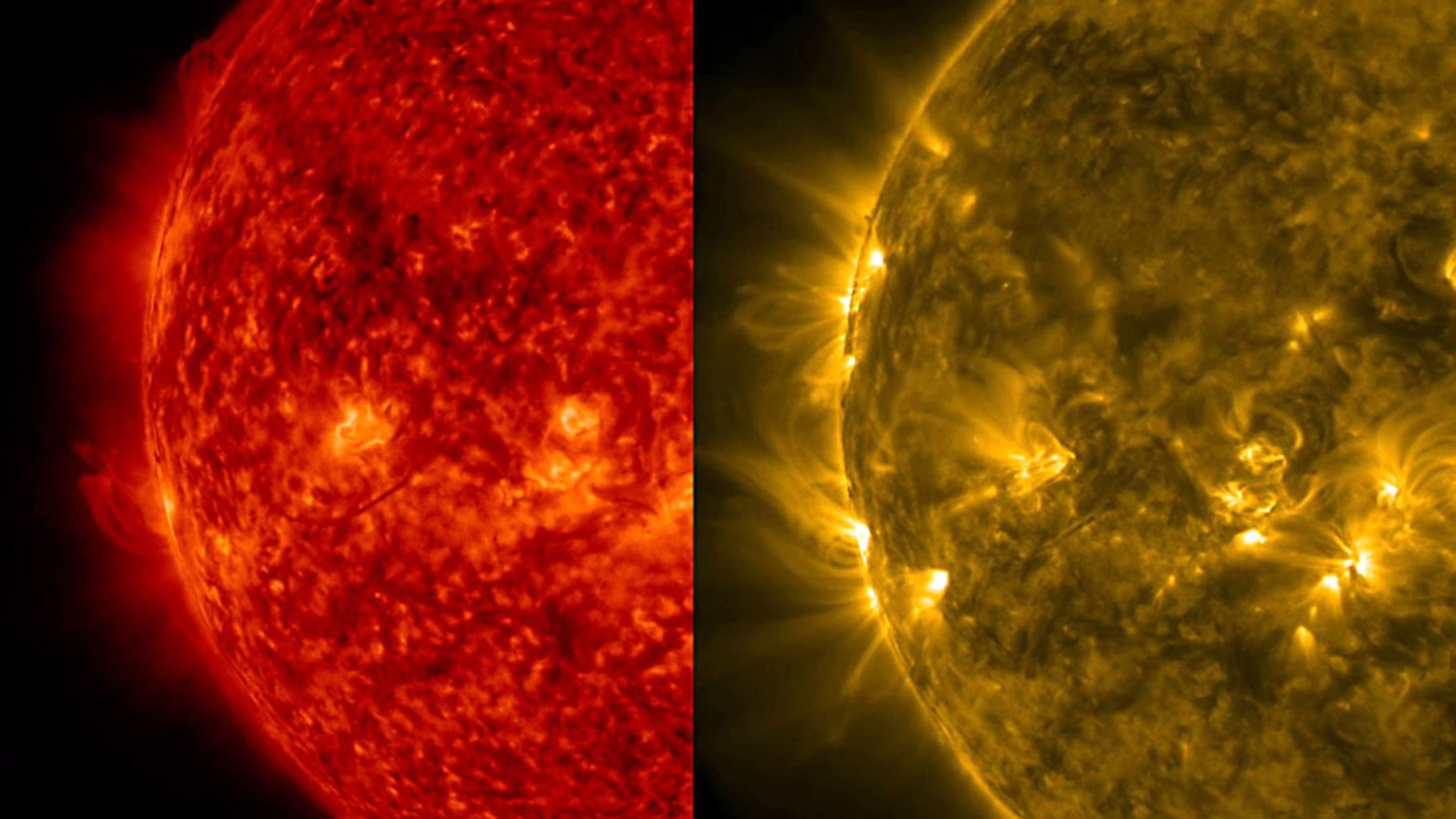 This side-by-side rendering of the Sun at the same time in two different wavelengths of extreme ultraviolet light helps to visualize the differing features visible in each wavelength (Dec. 10-11, 2015). This image is from NASA's Solar Dynamics Observatory
