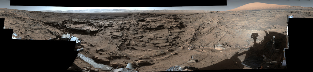 This mid-afternoon, 360-degree panorama was acquired by NASA's Curiosity Mars rover on April 4, 2016, as part of long-term campaign to document the context and details of the geology and landforms along Curiosity's traverse inside Gale Crater.