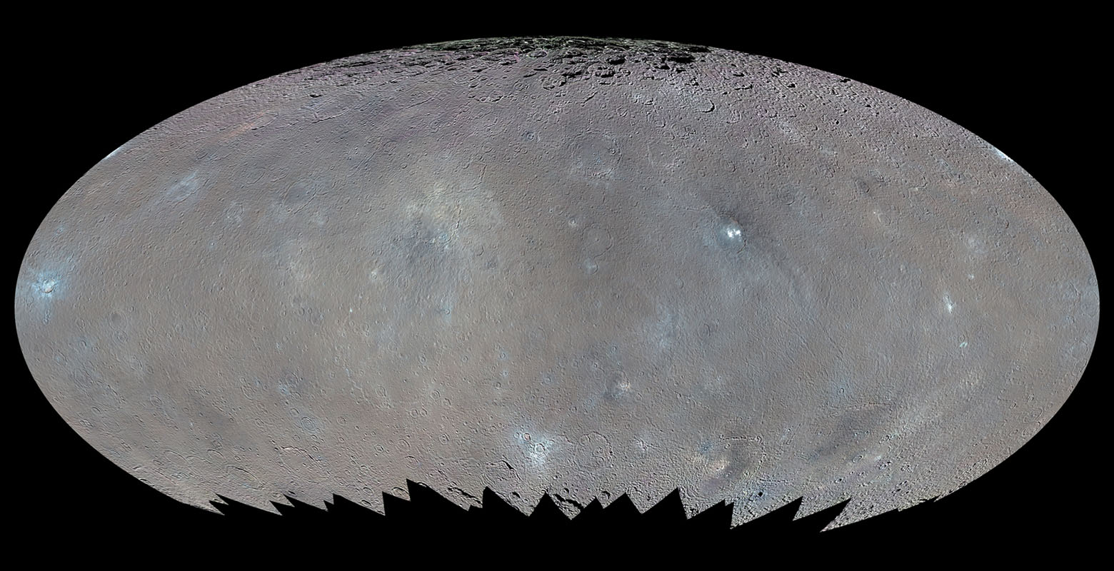 This global map elliptical map from NASA's Dawn spacecraft shows the surface of Ceres in enhanced color, encompassing infrared wavelengths beyond human visual range. Some areas near the poles are black where Dawn's color imaging coverage is incomplete.