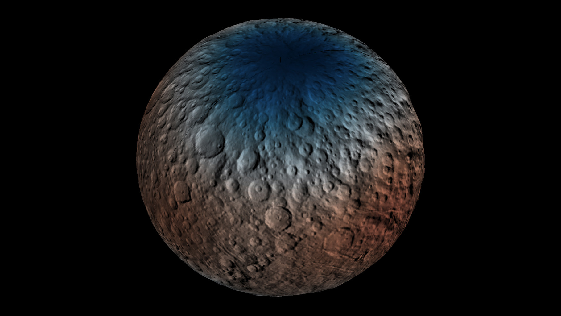 Ceres' Haulani Crater is shown in these views from NASA's Dawn spacecraft. These views reveal variations in the region's brightness, mineralogy and temperature at infrared wavelengths.