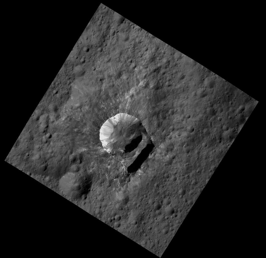 NASA's Dawn spacecraft shows Oxo Crater is unique because of the relatively large 'slump' in its crater rim.