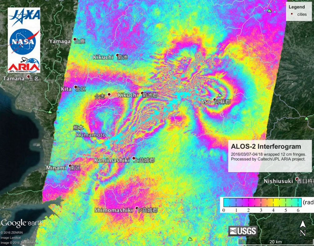 Satellites measure surface deformation due to earthquake 87
