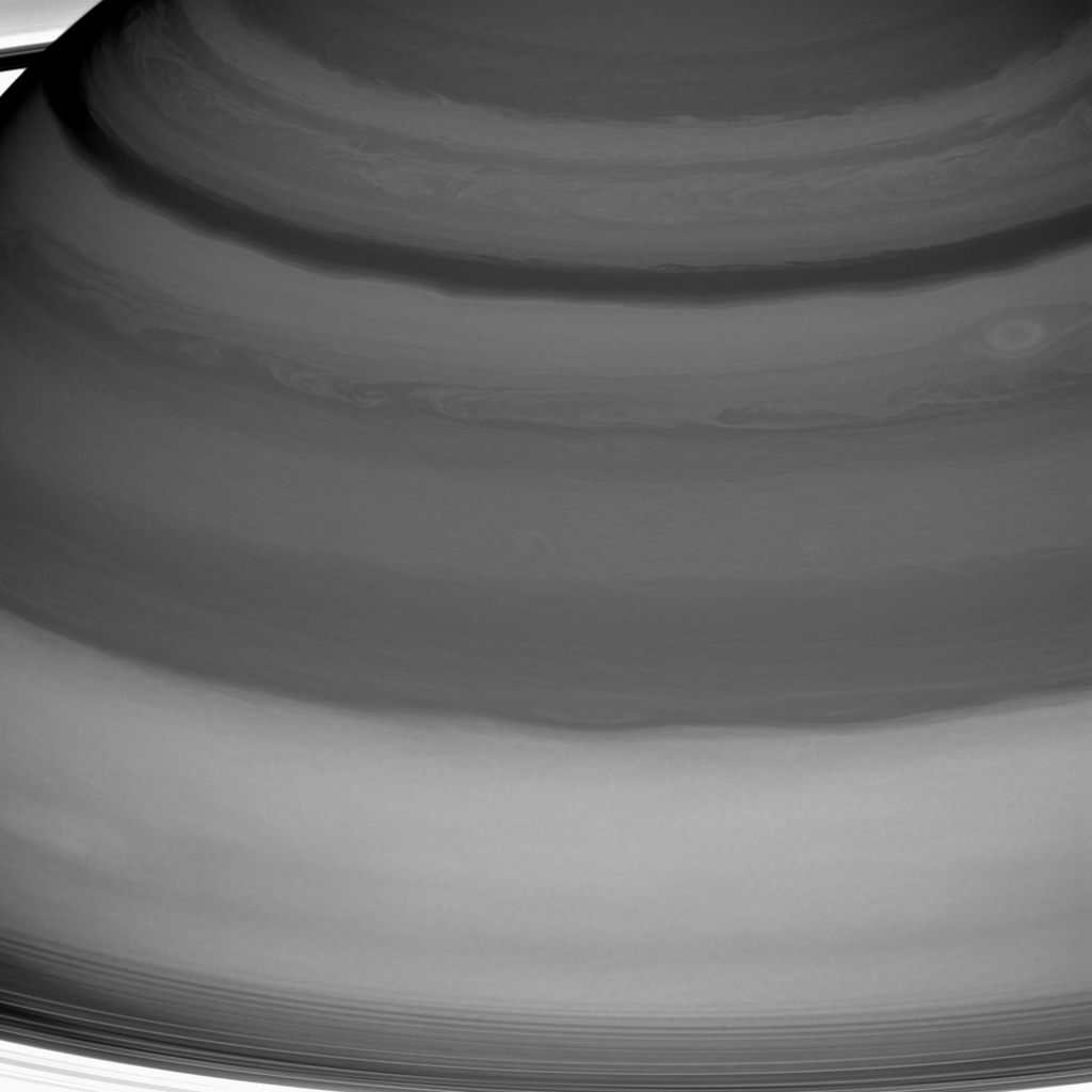 Saturn's clouds are full of raw beauty, but they also represent a playground for a branch of physics called fluid dynamics, which seeks to understand the motion of gases and liquids. This image is from NASA's Cassini spacecraft.